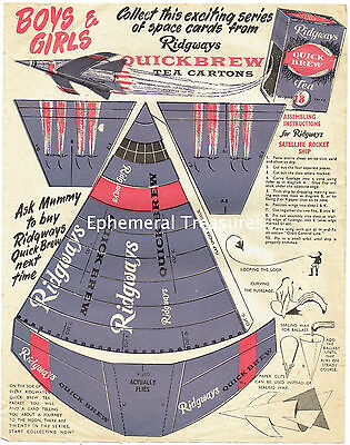Large 1950/60s Quickbrew Cut out Spaceship Advertising sheet