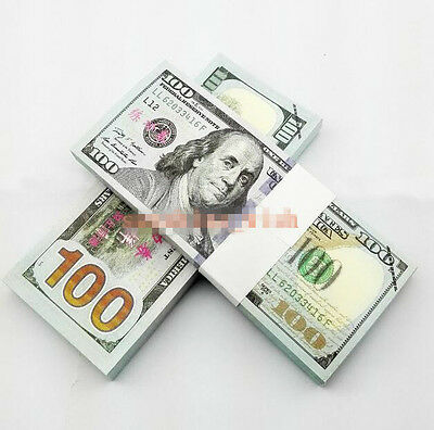 100PCS USD $100 Dollars Play Money Training Banknotes Practice New Fake Bills