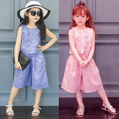 Child Kid Toddler Baby Girl Party Suit Shirt Tops+Pants Outfit Clothes 2PCS Set