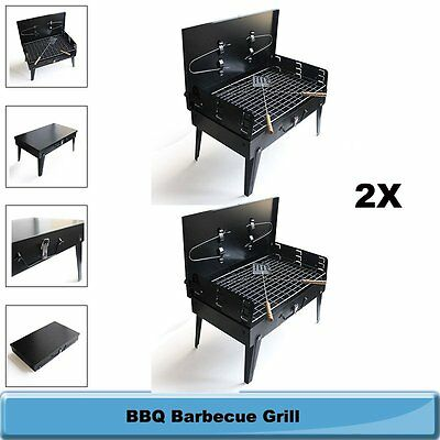 Pair of BBQ Barbecue Grill Folding Portable Charcoal Garden Outdoor Camping