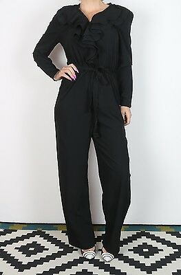 Jumpsuit UK 10 Small approx. 1980's Plain 80's All in one  (J1I)