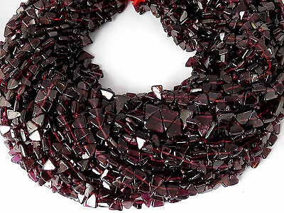 "5 Strands Natural Red Garnet Gemstone Trillion 5x5-6x6mm 13"" Long Smooth Beads"