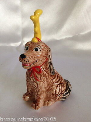 ♡ Salt Shaker Shaggy Brown Dog Animal Figurine Collectable With Red Bow