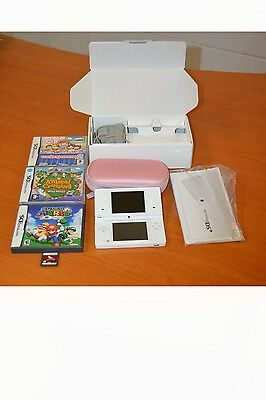 Nintendo DS  White Handheld System with Box,games, charger and pink carry case