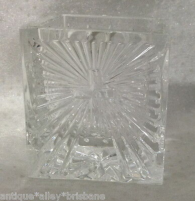 Waterford Ireland Stunning Cut Crystal Religious Cross Trinket Pot Dish