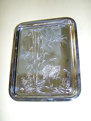 """Christofle France Bambou Silver Plated Small Tray 7-7/8"""" x 6-1/4"""" 20 cm x 16 cm"""