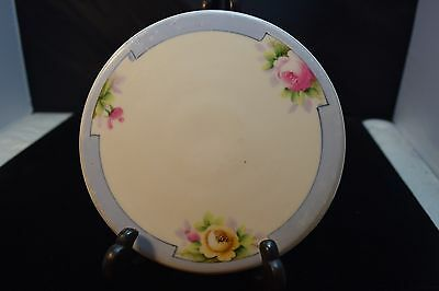 Nippon Tea Tile/Trivet- Pink & Yellow Flowers Blue Trim Blue Rising Sun Nippon