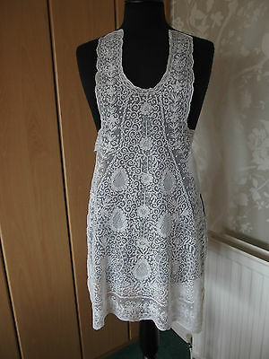 antique handmade delicate tamboured  lace over dress RARE