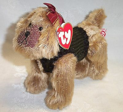 "Ty Attic Treasure Puppy Dog Kaiser with Ear Bow NWT Retired 6"" long"