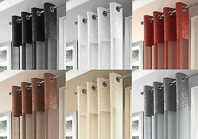 Shimmering Crushed Silk Border Voile Ringtop Eyelet Curtain Panel Free Postage