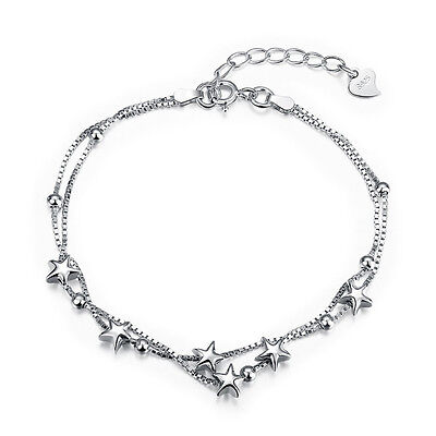 New! 925 Sterling silver Stars and Beads Double  chain Bracelet + Gift bag