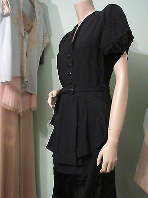 Original Vintage 1940's 30's Black Crepe & Velvet Peplum Dress Wartime evening M