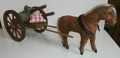 SALE LOWER PRICE/antic wooden CARVED WAGON W.PAPER MACHE HORSE/LADDER /SEED BAGS