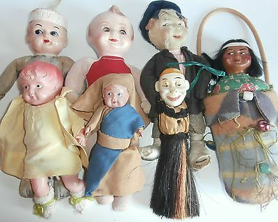 SALE  LOWER PRICE/ estate/ lot of antique 9 dolls celluloid/composition /cloth