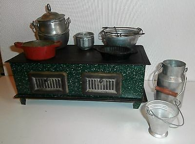 SALE LOWER PRICE / FRENCH Antic Doll Display TIN  FOOTED STOVE /PANS /ACCESS.