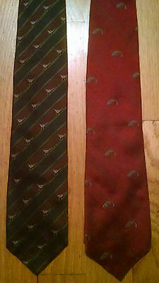 Vintage Polo Ties - Lot of 2 - Hunt and Fish - Bass Pheasant