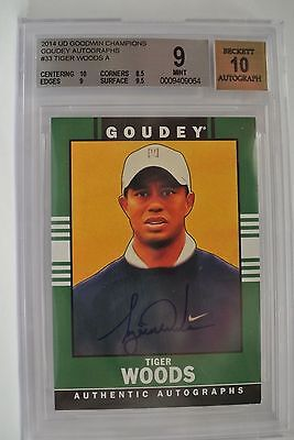 Tiger Woods 2014 Goodwin Champions Goudey auto/ autograph card BGS 9 BGS 10 auto