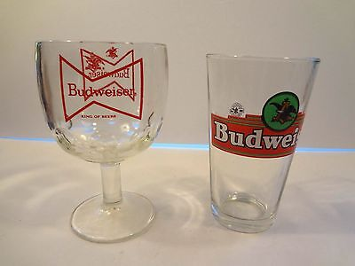 2 Budweiser  Chalice Pint  beer glass thumbprintglass old school Budweiser logo