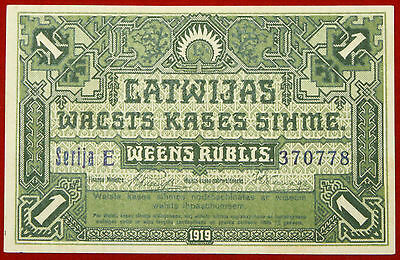 LATVIA 1 RUBLIS LATVIAN GOVERNMENT CURRENCY NOTE 1919 P 2b