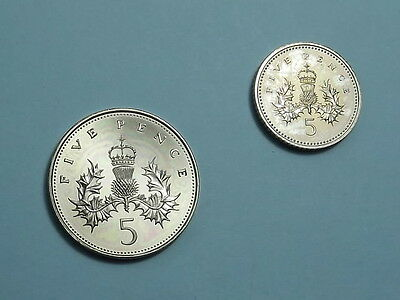 Proof 1989 & 1994 Five Pence - Large & Small 5P - Uncirculated