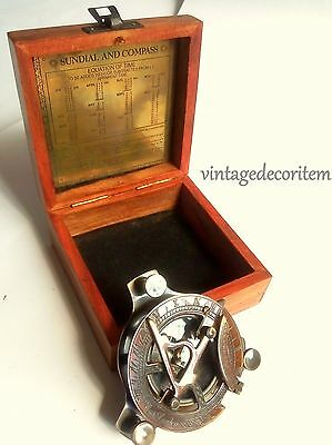 Brass vintage Maritime Sundial compass with wooden box
