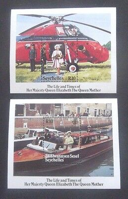 Seychelles-1985-Two Life & Times of the Queen Mother Minisheets-MNH