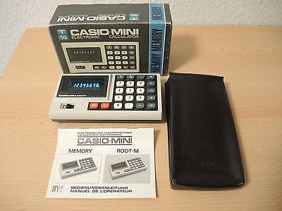Vintage 1973 Casio Mini Memory Electronic Calculator + Anleitung + OVP