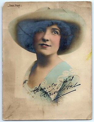 Vintage DAISY WOOD Signed Photo BRITISH STAGE ACTRESS AUTOGRAPH / Marie Lloyd