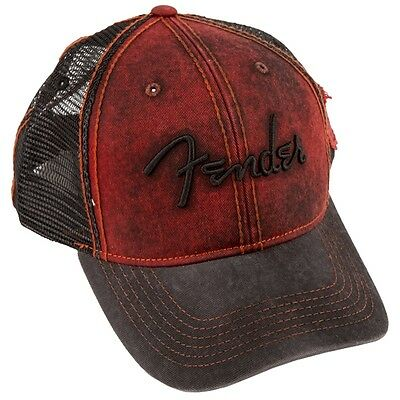 Fender Washed Trucker Basecap, Dark Red / Black