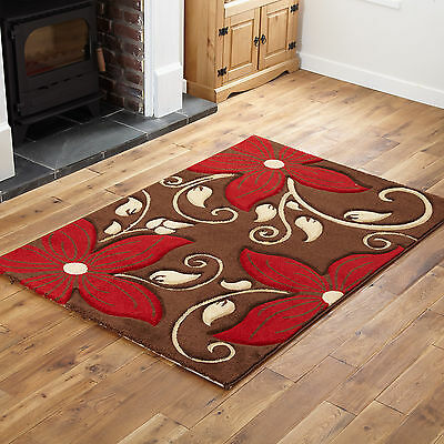 Small 80x150cm Floral Carved Modern Soft Thick Quality Cheap Brown Red Rugs