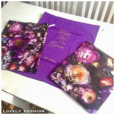 Ted Baker Laundry Bags Set Of Three Multi Shadow Floral Flowers Pink Black Gold