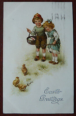 Vintage Postcard, Easter Greetings- chicks and Children Theme- Posted 1927