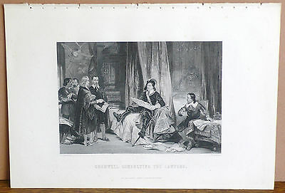 CROMWELL CONSULTING THE LAWYERS, Original Antique Engraving / Print, c. 1870