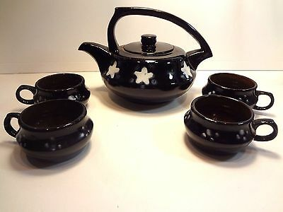Ceramic Pottery Tea Set with Pot and Cups Studio Made
