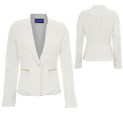 Womens Collared Long Sleeve Lined Low V Office Formal Zip Detail Jacket Blazer