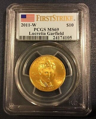 2011-W $10 Lucretia Garfield First Spouse Gold PCGS MS69 First Strike