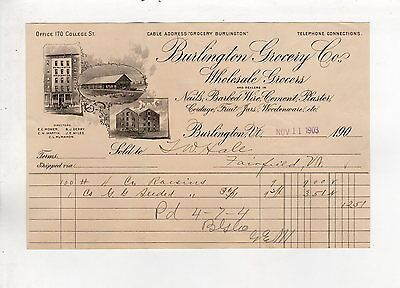 Vintage Sales Invoice Burlington Grocery Co nails barbed Wire Groceries cordage