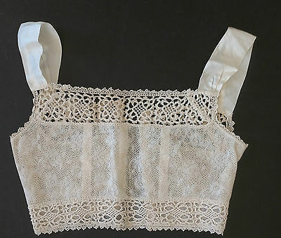 Lovely Antique Victorian Lace Camisole With Satin Ribbon Straps