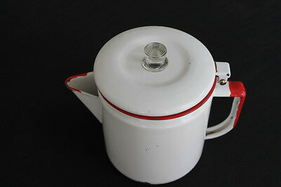 vintage red & white enamelware coffee pot with lid glass knob