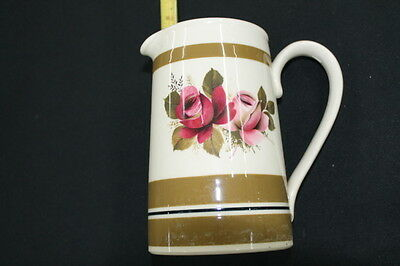 vintage Sadler pottery pitcher jug gold band pink roses Staffordshire England
