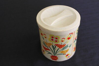 vintage kitchen tin metal canister plastic lid red rooster