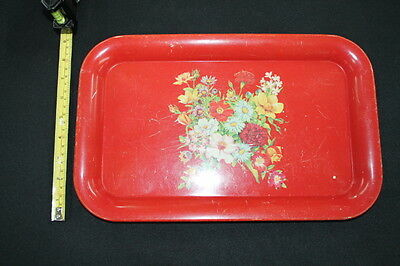 vintage mid century red metal tin serving tray white daisies flowers