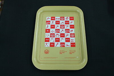 vintage metal Coke Coca Cola advertising tray gold red Olympic