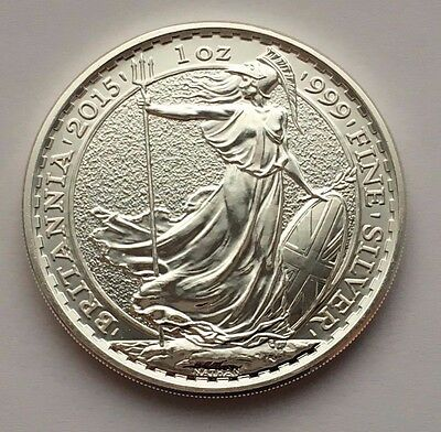 2015 Great Britain Britannia 2 Pounds 1 Oz Fine Silver Coin Mint Uncirculated