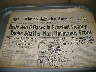 July 28,1944 Philadelphia Inquirer newspaper  Eastern Front,Normandy Battles