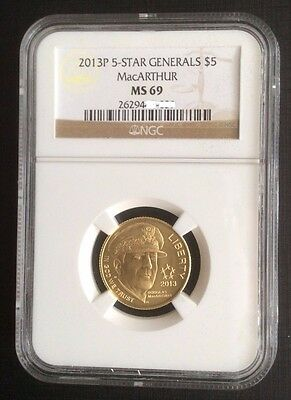 2013-P $5 Five Star Generals MacArthur Gold NGC MS69