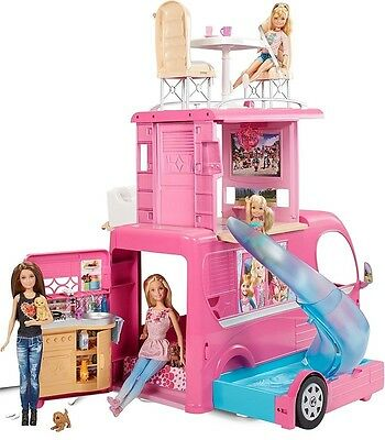 Barbie Van Transforming Glamour Camper Motorhome Girl Vehicle Lot Accessories UK