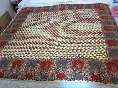 """Antique Kashmir Paisley Printed Shawl Floral Butehs Intricacies 19th Cent. 60"""""""