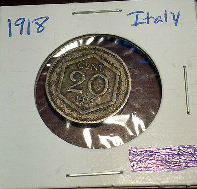 1918 Italy 20 Cent Coin