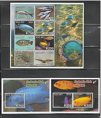 MALAWI: # 01-NEW ISSUE Beautiful*** F I S H E  S ***/ Sheet & 5 SS / MNH-2 Scans